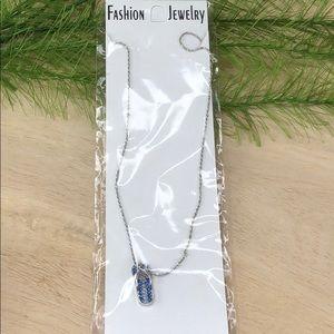 NWT! Flip flop sandal necklace, silver tone blue